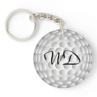Golf ball personalized monogram Double-Sided round acrylic keychain