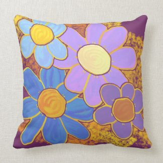 Pretty Blue and Purple Flowers Throw Pillow