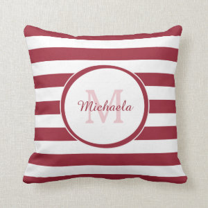 Designer Monogram With Fat Stripes and Name in Red Throw Pillow