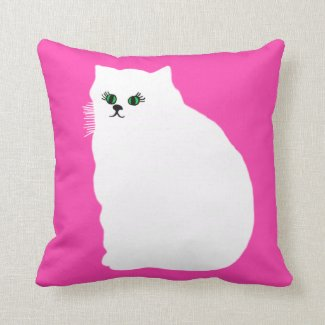 Fluffy White Persian Cat Throw Pillow