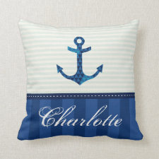 Nautical Blue Stripes Pattern Anchor Custom Name Pillow