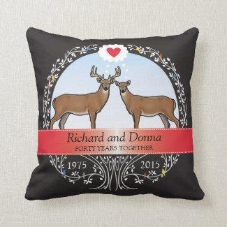 Personalized 40th Wedding Anniversary, Buck & Doe Pillow