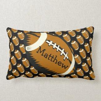Football Sports Brown and Black Lumbar Pillow