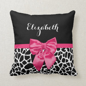 Cute Black Giraffe Print Girly Pink Bow and Name Throw Pillow