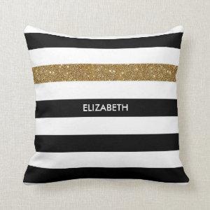 Modern Black Stripes FAUX Gold Glitz and Name Throw Pillow