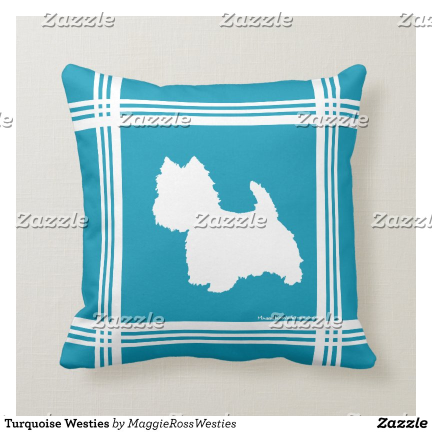 Turquoise Westies Throw Pillow