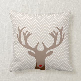 Cute Red Nose Christmas Reindeer Chevron Pattern Throw Pillow