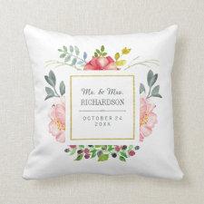 Pink Watercolor Peonies Wedding Gift Throw Pillow