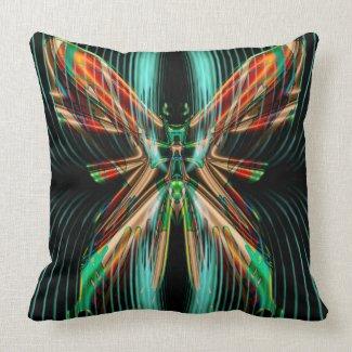 Iridescent Op-Art Green & Orange Butterfly Throw Pillow