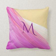 Elegant purple chiffon with monogram champagne pillow