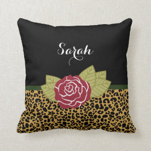 Chic Brown Gold Leopard Print Red Rose With Name Throw Pillow