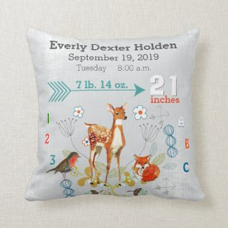 Nursery Baby Birth Stat Fox Arrow Pattern Throw Pillow