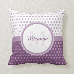 Mod Purple and White Polka Dots Monogram With Name Throw Pillow