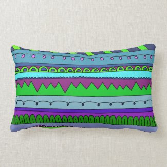 Purple, Blue, Lime Green Abstract Squiggly Stripe Pillow