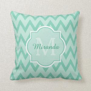 Trendy Mint Green Chevron Zigzag Name and Monogram Throw Pillow
