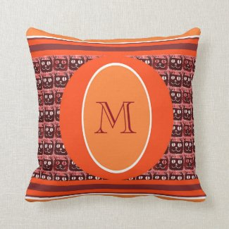 monogram with illustrated little cat face cartoon pillow