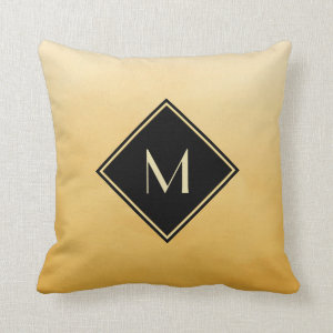 Elegant Brushed Yellow With Simple Gold Monogram Throw Pillow