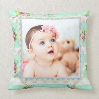 Pretty Teal and Pink Floral Custom Pillow