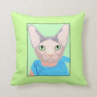 Sphinx Cat In A Blue Bandana Green Eyes Pillow