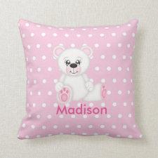 Cute Pink Polar Bear Pillow