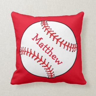 Baseball Square Throw Pillow