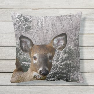 Deer and Frosty Evergreen Trees Outdoor Pillow