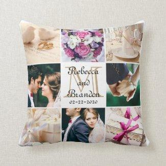 Trendy Modern Wedding Monogram Photo Keepsake Throw Pillow