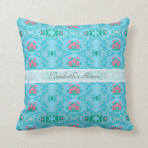 Vintage Pink and Blue Wallpaper With Name Throw Pillow