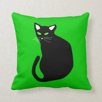 Black Cat With Bright Green Eyes White Ears Pillow
