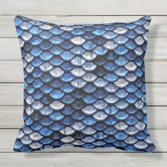 Metallic Cobalt Blue Fish Scales Pattern Outdoor Pillow