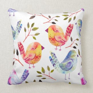Cool Colorful Watercolor Birds Throw Pillow