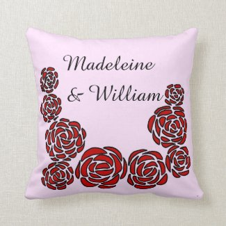 Floral Border Red Roses with Personalized Names Throw Pillow
