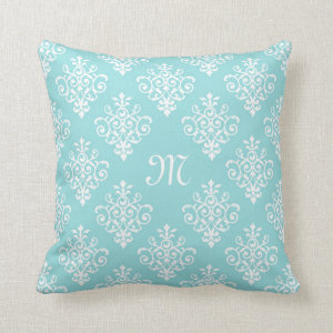 Lovely Aqua Blue and White Damask With Monogram Throw Pillow