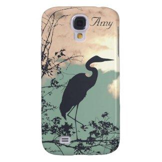 Elegant blue Heron sunset monogram Galaxy S4 Cover