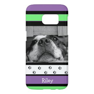 Personalize this cute Purple and Lime Green Pet Samsung Galaxy S7 Case