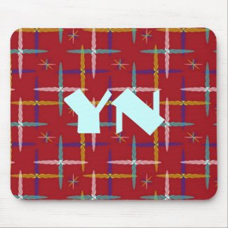 Modern Tribal Plaid monogram Mouse Pad