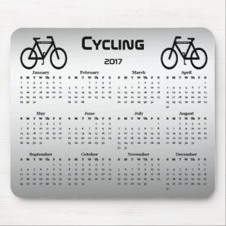 Silver and Black Bicycle Sports Calendar Mousepad