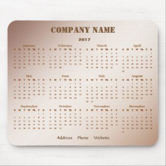Brown Business Promotional Company 2017 Calendar Mouse Pad