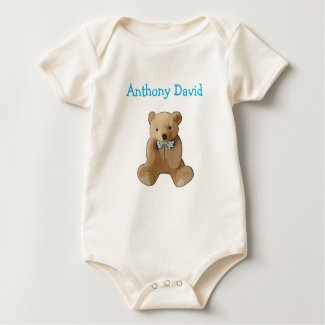 Personalize this cute Organic Teddy bear Baby T Baby Bodysuit