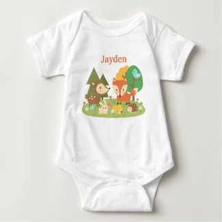 Cute Colourful Woodland Animal For Babies T Shirt
