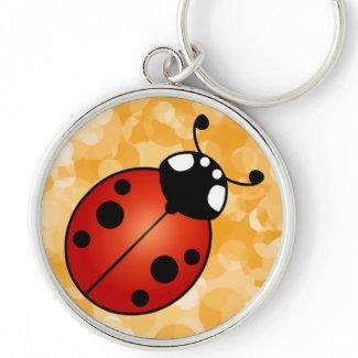 Lucky Ladybug Red Orange Black Ladybird Beetle Art Silver-Colored Round Keychain