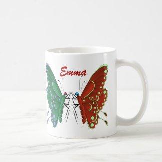 Elegant colorful butterflies names friendship coffee mug