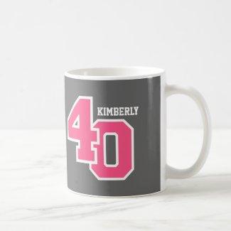 40th Birthday GRAY and PINK V01G Coffee Mug