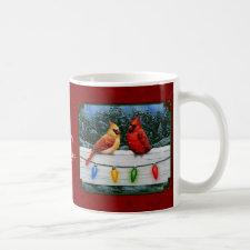 Cardinals and Christmas Lights Red Coffee Mug