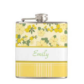 Pretty Yellow Flowers and Plaid Personalized Flask