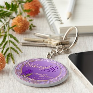 Custom Mother Of Groom Shades of Lavender Keepsake Basic Round Button Keychain