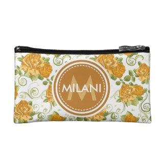 Monogrammed Orange Rose Pattern Cosmetic Bag