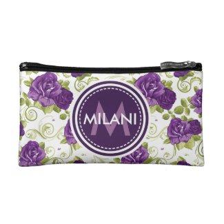 Monogrammed Purple Rose Pattern Cosmetic Bag