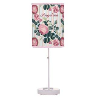 Pink Roses Illustration Blue Peach Stripes Pattern Desk Lamp