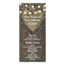 Rustic Carved Oak Tree Country Wedding Programs
